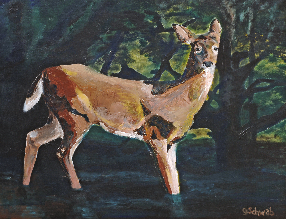 Contemplative Deer - 28x36 Acrylic on Stretched Canvas in Ornate Gold Frame (frame not shown)