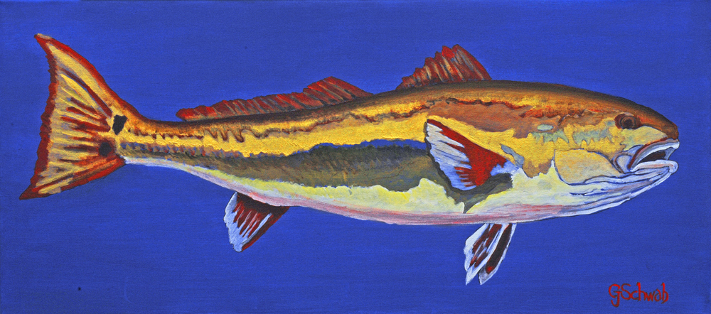 Red on Blue - 16x36 Acrylic on Stretched Canvas with Blue Gallery Wrap Border